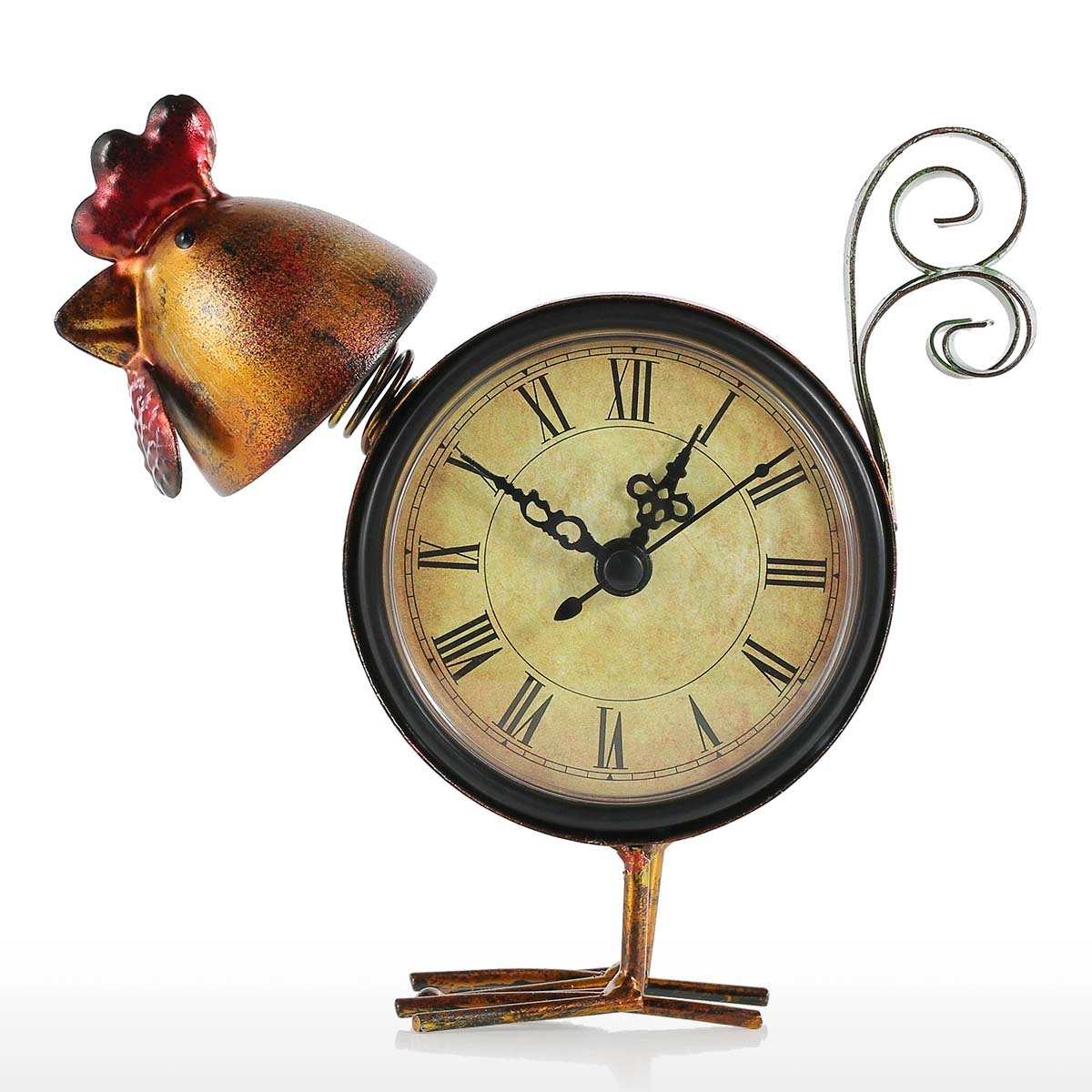 Tooarts Small Desk Clock Battery Operated Handmade Vintage Decorative Shelf Clock Metal Chicken Figurine Shaped
