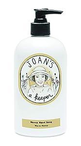 Joan's a Keeper Honey Hand Soap - Warm Honey - Made with Pure Honey & Aloe Vera - Sulfate-Free 12 oz.