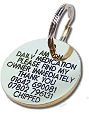 Deeply engraved solid brass 33mm circular dog tag
