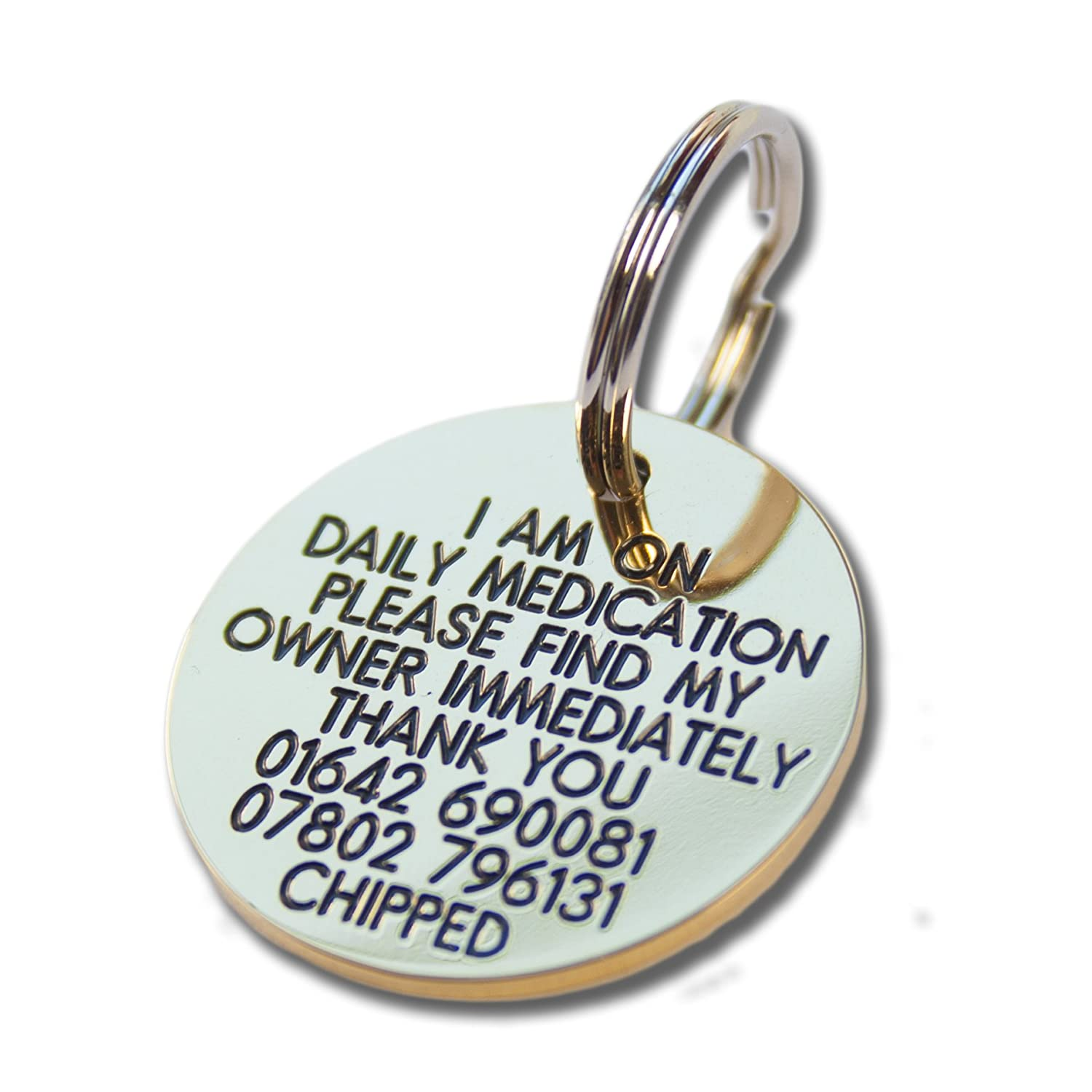 Deeply engraved solid brass 33mm circular dog tag Engraving Studios