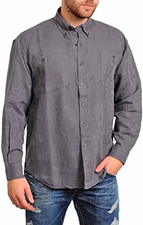 Wofupowga Mens Button Down Casual Long Sleeve Embroidered Stand Collar Shirts