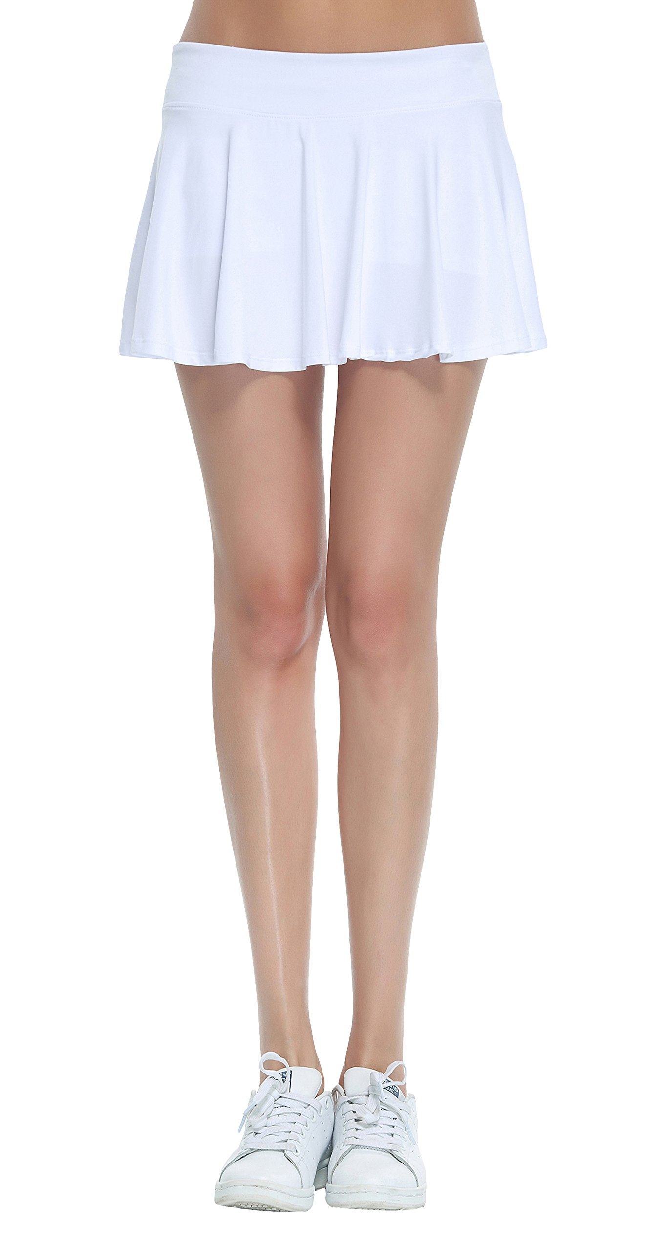 Women's Fitness Pleated Skirts Active Running Tennis Golf Lightweight Skorts With Built-In Shorts size Medium (White)