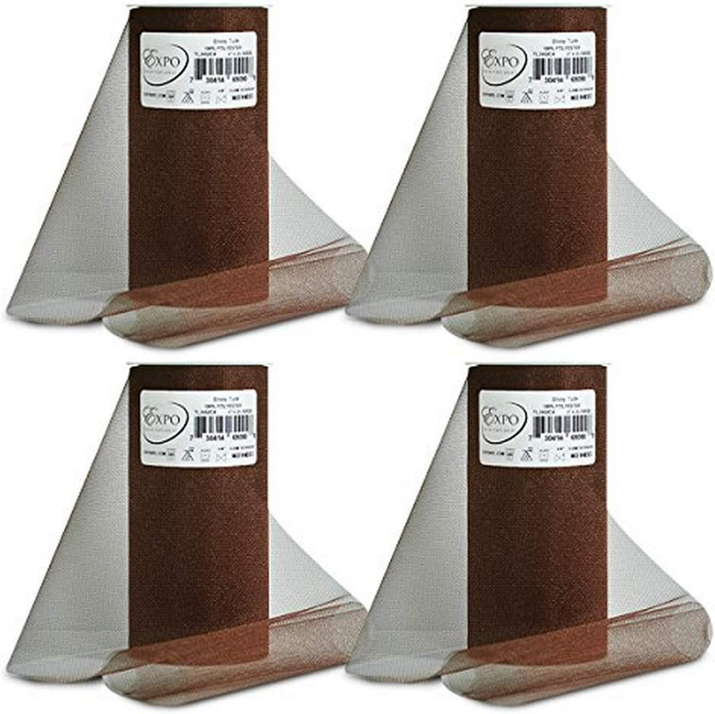 Chocolate Expo International Pack of 6 Shiny 6 Tulle Spool of 25 Yards TL2402CH-6 6 Yd 6 Piece