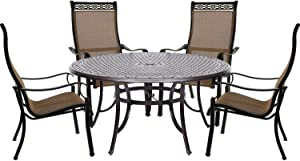 """Hanover MANDN5PCRD Manor Set with a Large 60"""" Table and Four Contoured Dining Chairs, Tan Outdoor Furniture"""