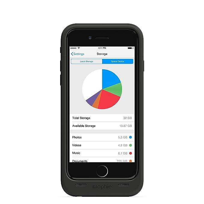 Mophie Space Pack - Carcasa con Cargador de batería y Memoria para iPhone 6/6S 32GB, Color Negro
