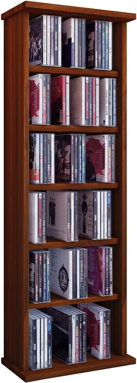 VCM Vostan-Torre para CD/DVD, para 150 CDs, sin Puerta de Cristal, Vetas de Nogal