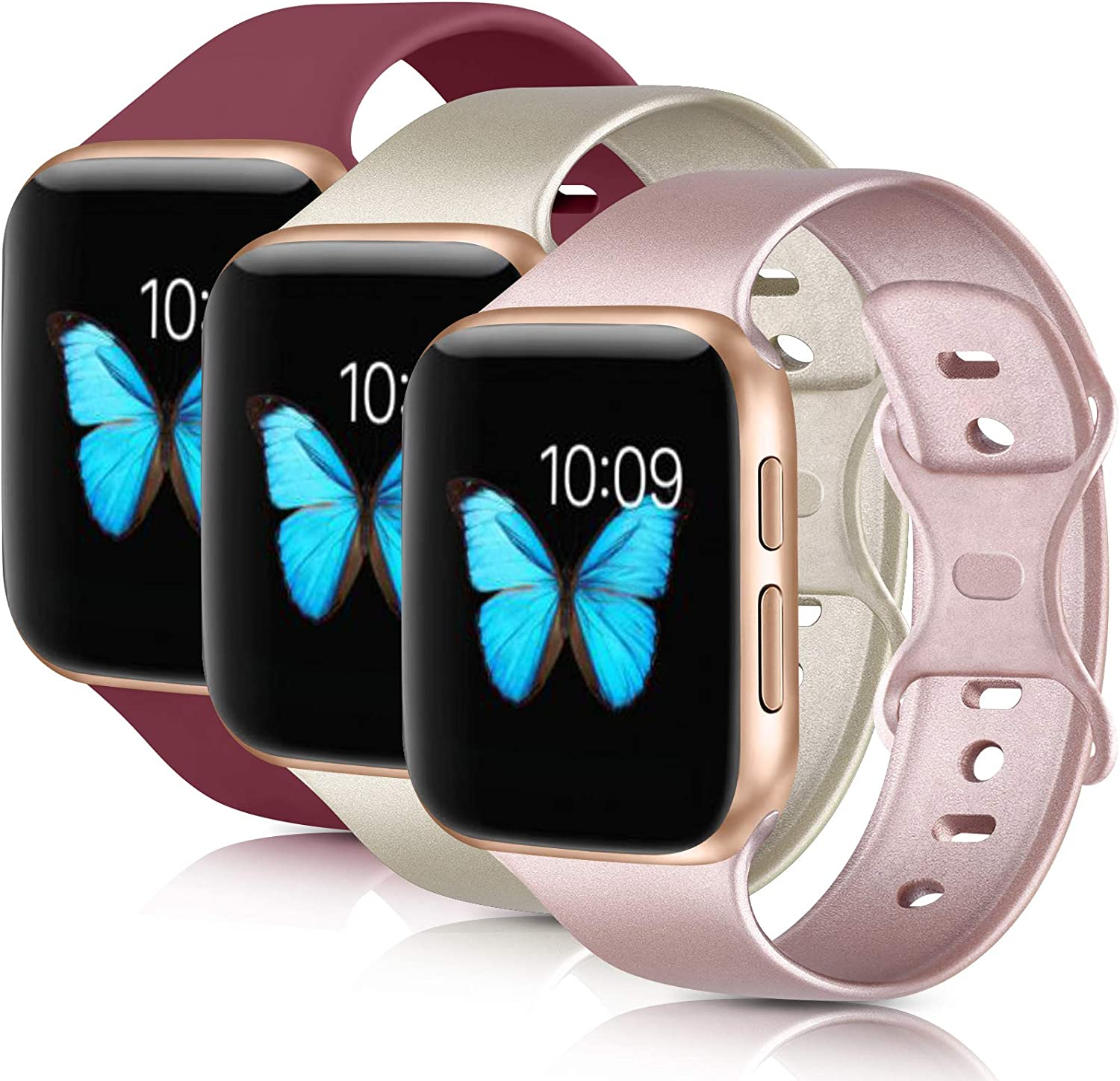 [3 Pack] Compatible with Apple Watch Bands 38mm 40mm 42mm 44mm, Soft Silicone Strap Replacement Band for iWatch Series 6 5 4 3 2 1 SE
