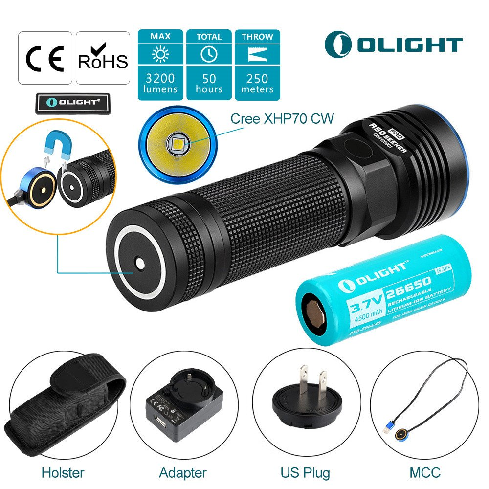 Bundle: Olight R50 Pro Seeker Police Tactical Flashlight Military Grade Law Enforcement EDC Light Cree XHP70 Cool White LED 3200 Lumens Powered by 4500mAh Lithium Rechargeable Battery w/Olight Patch