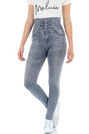 435b43a63cdf5 malucas Sports Damen Leggings mit Hohem Bund und Jeans-Look 00514,  Farbe:Grau