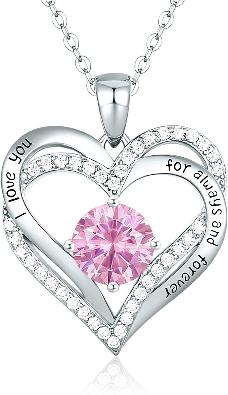 CDE Collar Mujer Amor Corazón Plata de Ley 925 Chapado en Oro Rosa, Collares Colgante Piedras de Nacimiento con Caja Regalo, Regalo de joyería para Esposa Novia