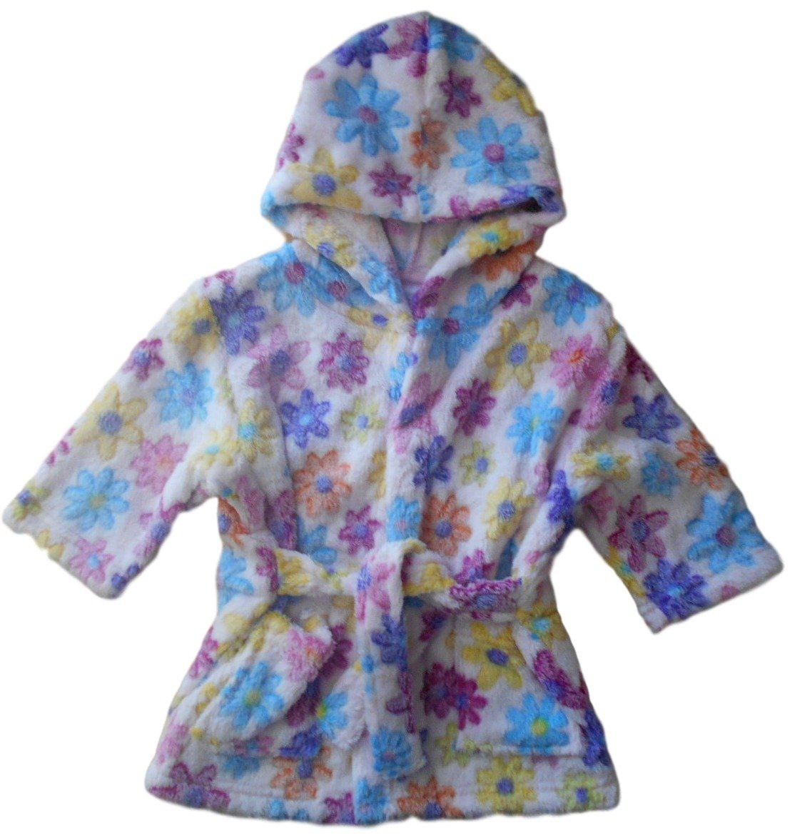 6-12 months - Baby Girls Fluffy Pink Multicoloured Floral Hooded Dressing Gown Soft Touch