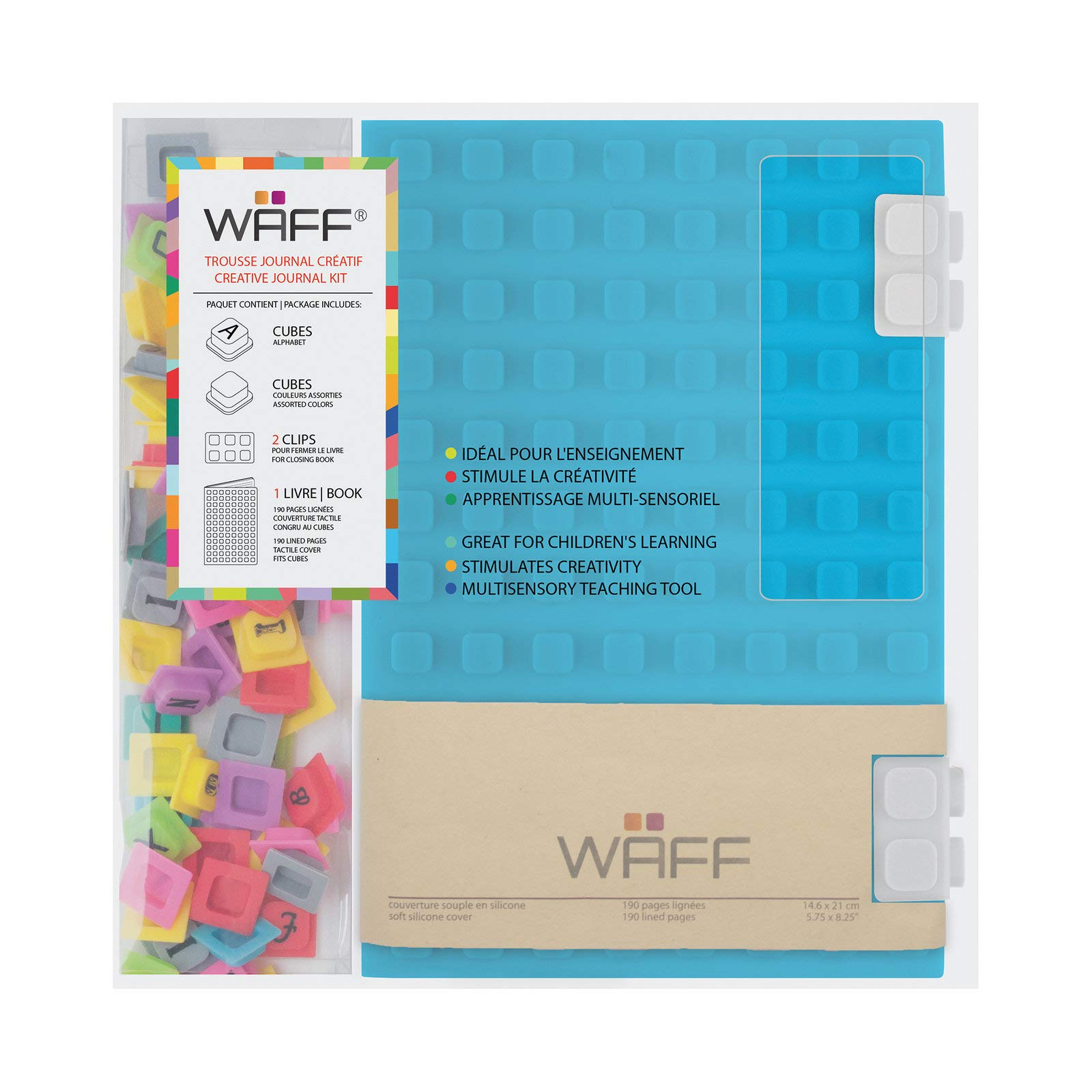 Creative Journal Combo - Waff - Large Format Customizable Notebook - Silicone Cover - Clip Closure - 190 pages Lines - Size A5 - Color by WAFF