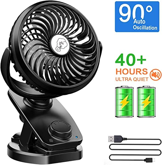 Baby Stroller Fan Battery Powered USB Mini Fan Office Room Car Fan Clip on Bed Bike Desk Fan #3