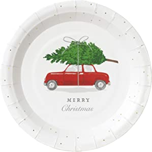 Red Truck Christmas Decorations Paper Plates Rustic Farmhouse Christmas Decor Party Plates 7