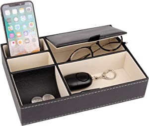 Baoyun Mens Valet Tray Organizer - Leather Nightstand Dresser Top Box with 5 Compartment for Accessories, Wallet, Phone, Keys black