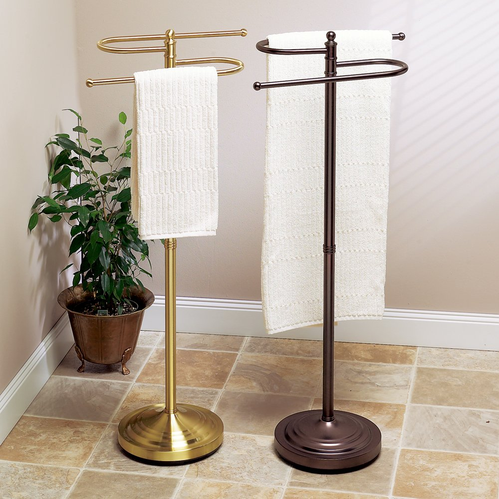 Floor Standing Towel Rack Brushed Nickel
