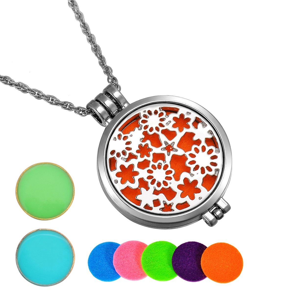 HooAMI Aromatherapy Essential Oil Diffuser Necklace Flower Patch Locket Pendant,5 Colorful Pads+2 Noctilucent Pads TY UPIE17383
