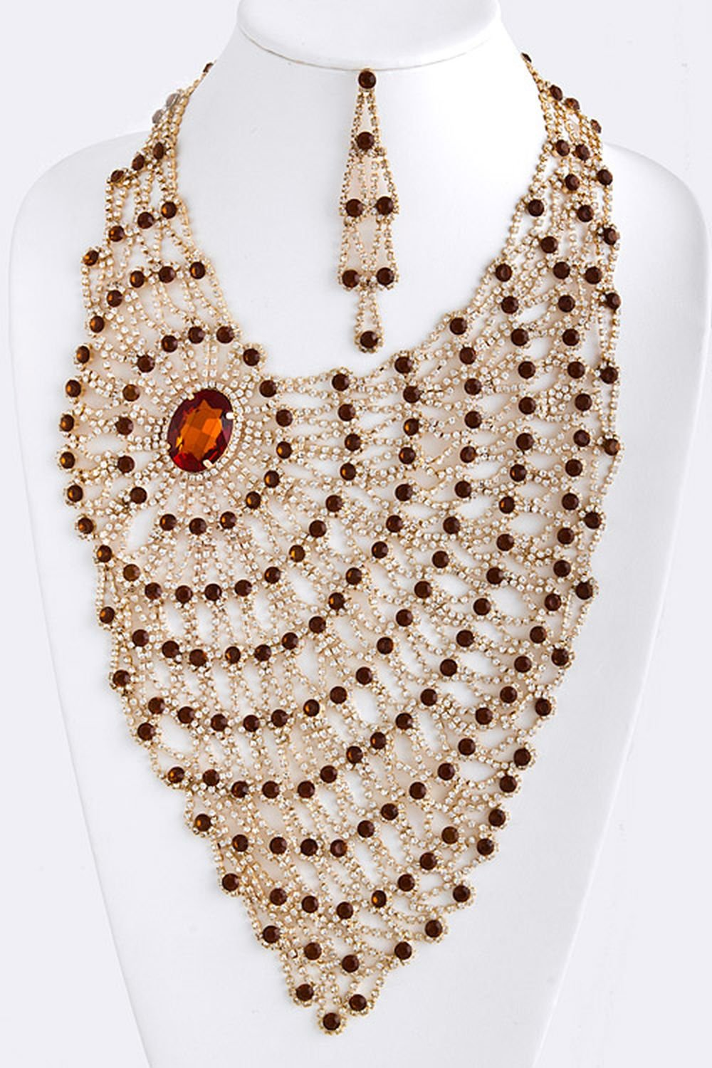 TRENDY FASHION JEWELRY SIDE JEWEL RHINESTONE DRAPE NECKLACE BY FASHION DESTINATION | (Smoked Topaz)