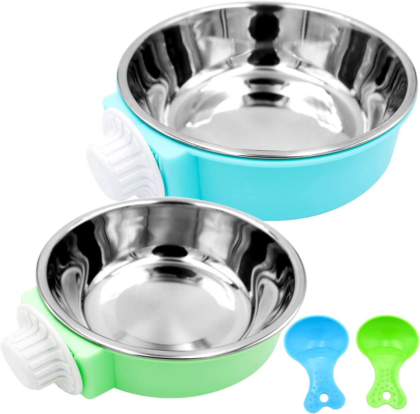 Bac-kitchen Crate Dog Bowl - Removable Stainless Steel Hanging Pet Cage Bowl Food & Water Feeder Coop Cup for Cat Puppy Bird Pets Guinea Pigs