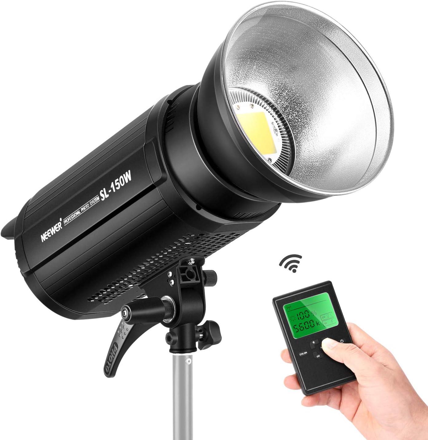 Neewer Luz Video LED 150W 5600K, Iluminación Continua, CRI 95+ con Control Remoto 2.4G y Reflector, Montaje Bowens para Grabación de Video, Fotografía de Retratos, Fotografía al Aire Libre (SL-150W): Amazon.es: Electrónica