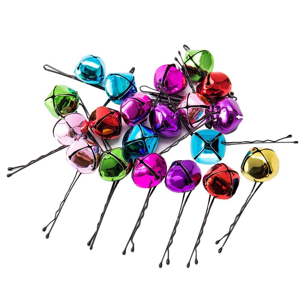 New_Soul 20PCS Jingle Bells Mix Color 20mm Campane di Natale Campanella per Barba Piccole Campane Bulk per Gioielli Artigianali Fai da Te Decorazioni Natalizie
