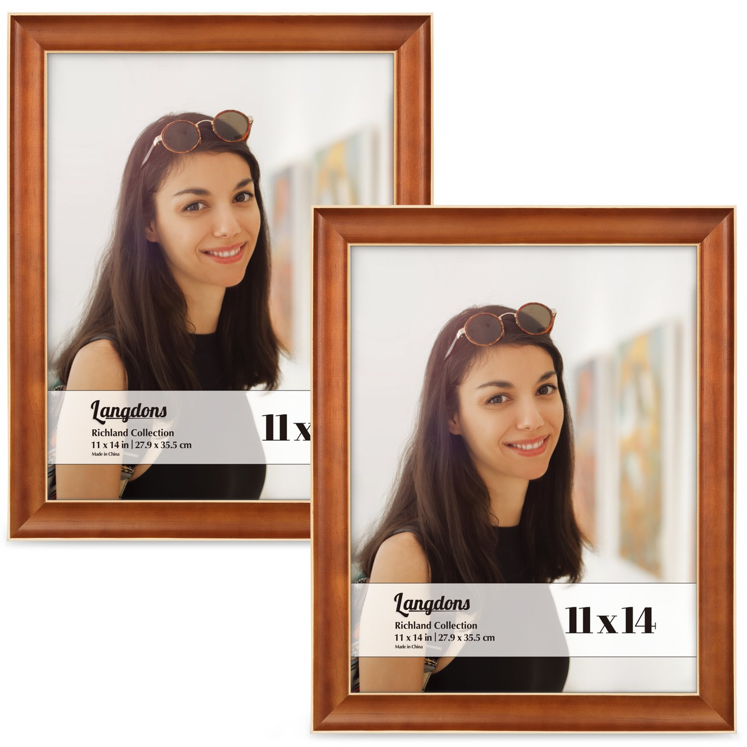Langdons 11x14 Picture Frame Set (2-Pack, Honey Brown) Solid Wood Photo Picture Frames 11x14, Wall Mount or Table Top, Display Large Picture Frame 11x14 Vertically or 14x11 Horizontal, Richland Series