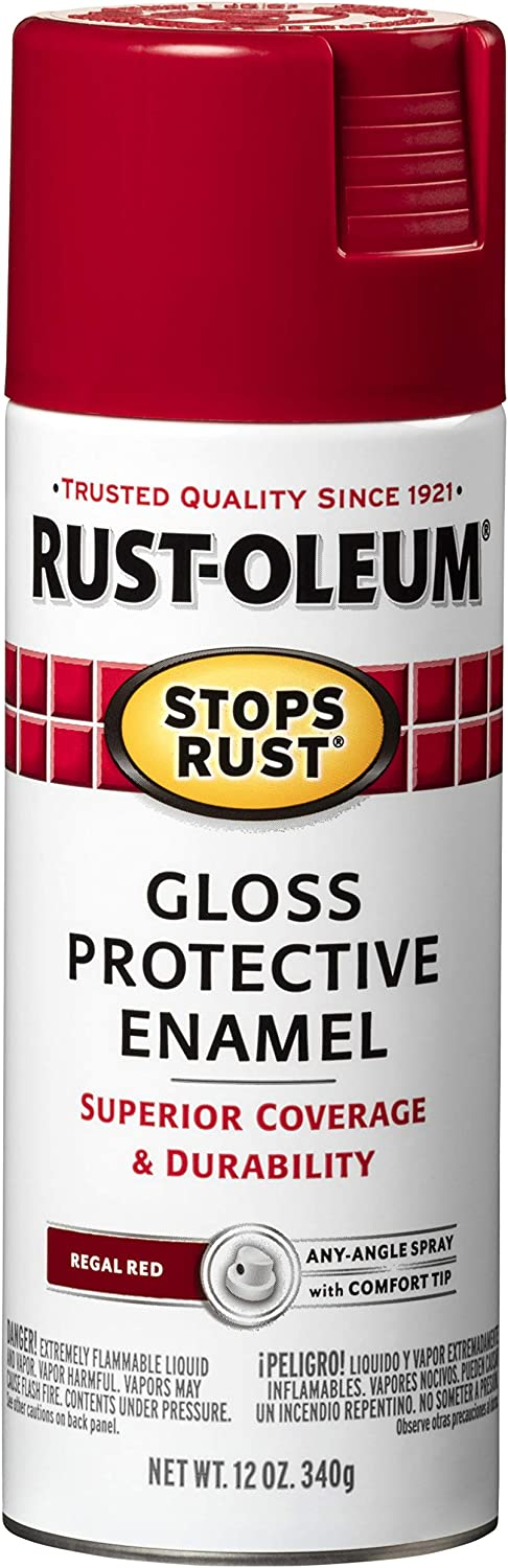 Rust-Oleum 7765830 Stops Rust Spray Paint, 12-Ounce, Gloss Regal Red