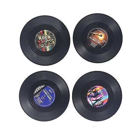 NUOLUX 4pcs Posavasos portavasos redondo Vintage vinilo: Amazon.es ...