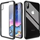 iPhone X Case, CAFELE iPhone 10 Case TPU Frame Thin Slim Transparent Tempered Glass Back [Anti-Scratch] [Non Slip] for iPhone X/10, Black