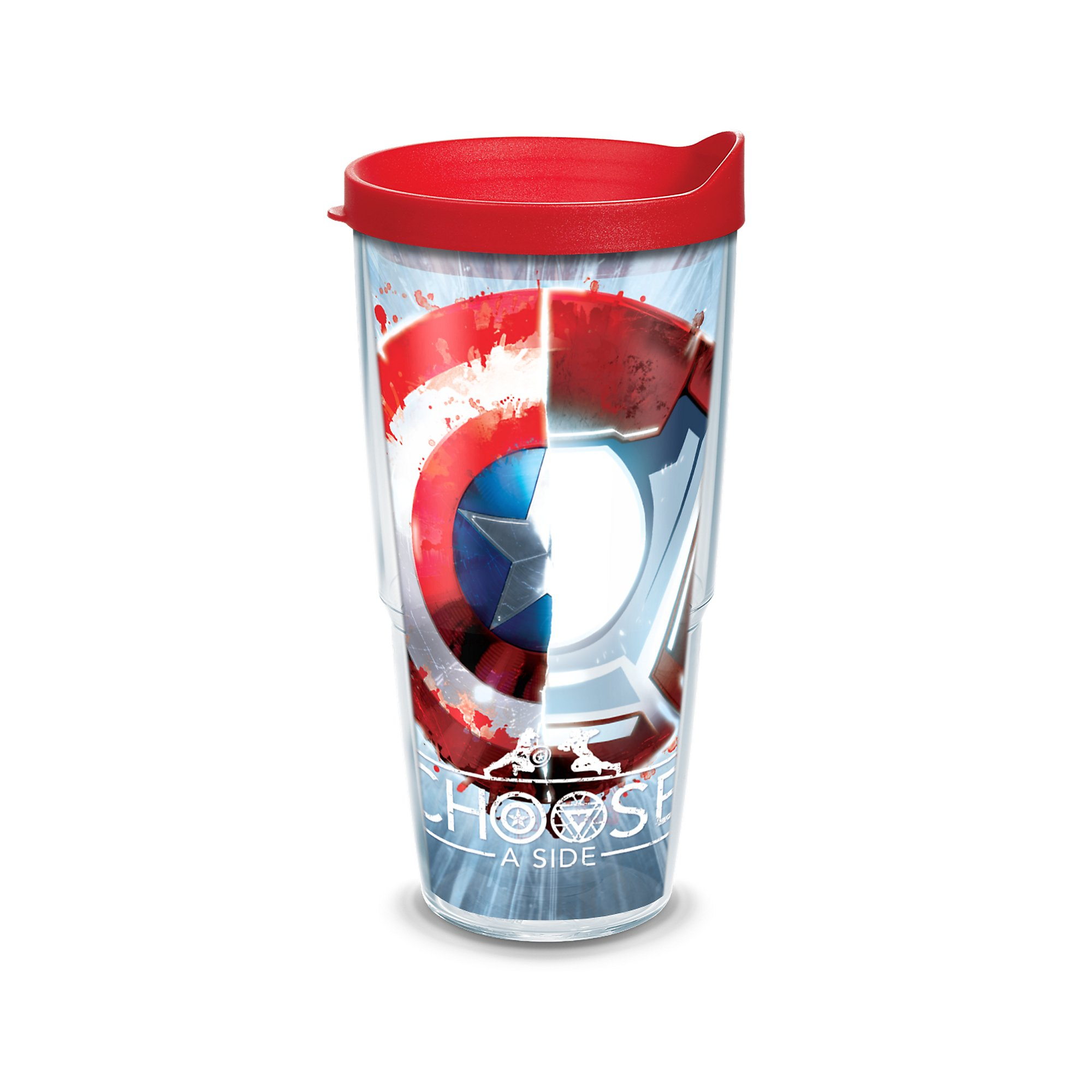 Tervis Marvel Captain America Movie Shield Wrap Clear Inner 24oz Tumbler with Red Lid
