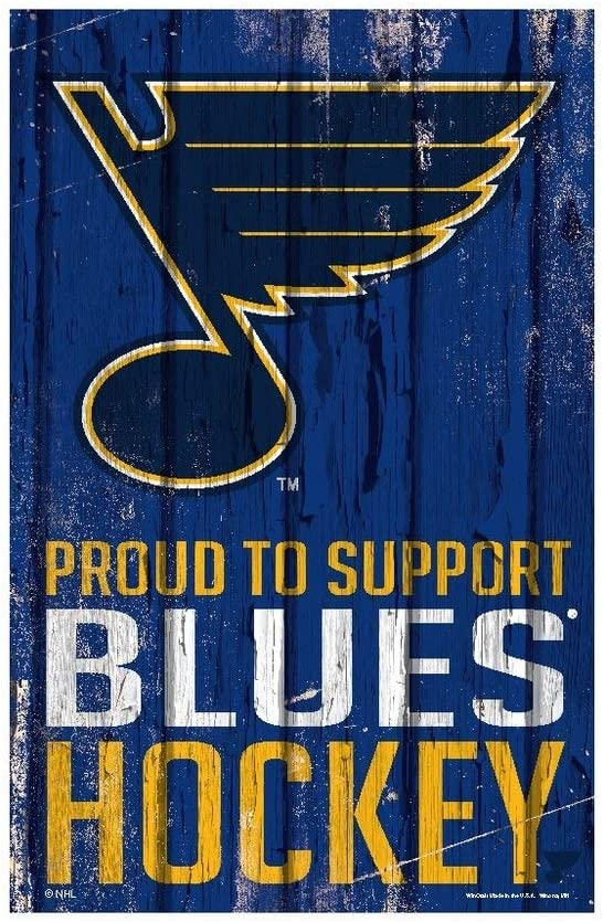 WinCraft NHL St. Louis Blues SignWood Proud to Support Design, Team Color, 11x17