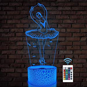 Ballet Dancing Gifts, 3D Illusion Lamp Kids Night Light with Remote Control 16 Colors Changing Gifts for Mom, Birthday Gift, Wedding Gifts, Grandmother Gifts, Valentines Gift, Graduation Gifts, Friend