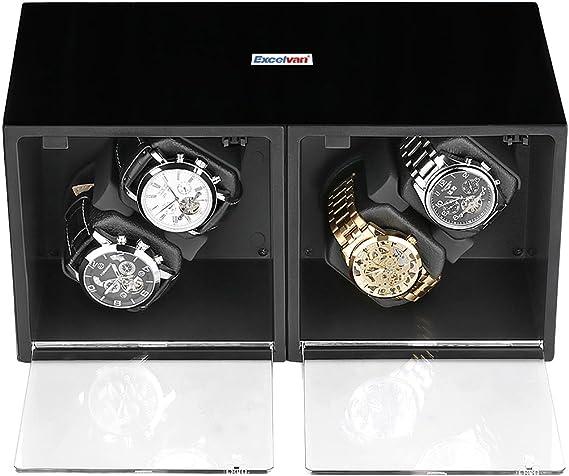 Schwarz Automatische 4 6 Uhrenbeweger Rotation Leder Holz Storage Display Case