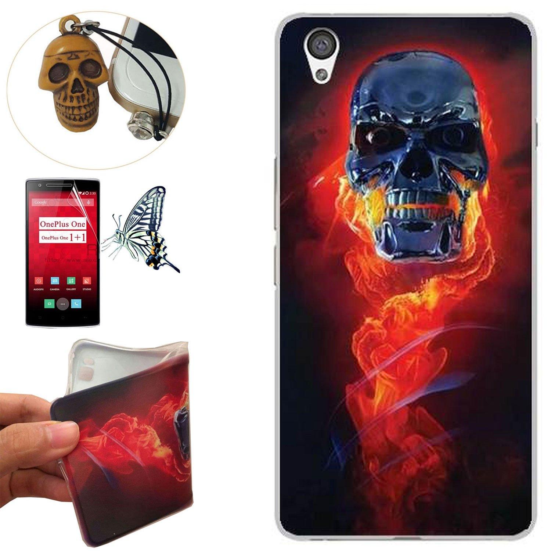 OnePlus X Funda, Rockconcept TPU Funda de Silicona de Gel Carcasa Tapa Case Cover para OnePlus X (Cráneo del fuego) + 1x Tapón de Polvo + 1x Protector ...