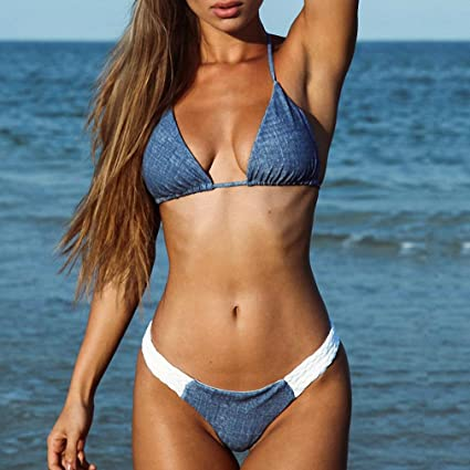 2b24e855be8 Tinpia Womens Braiding Strap Jean Style Bikinis Sexy Scrunch Butt Women s  Bikini Set Swimwear Female Beach