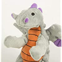 goDog Dragons with Chew Guard Technology Plush Squeaker Dog Toy, Small Gray
