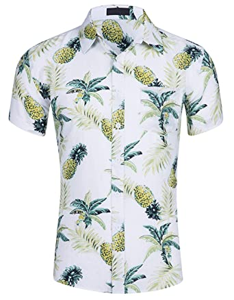 20986d788 Cyparissus Men's Casual Button Down Shirt Cotton Hawaiian Shirt for Beach  (L, White Yellow