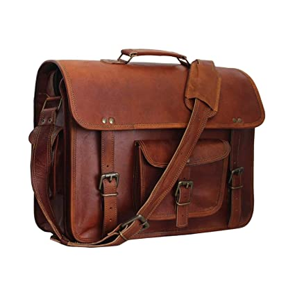 e394a70a8bc3 Image Unavailable. Image not available for. Color  Vintage Leather Laptop  Bag 15 quot  Messenger Handmade ...