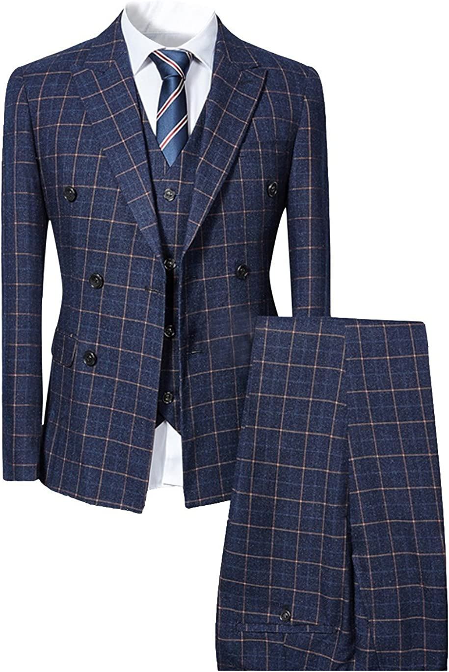 Mens Blue Slim Fit 3 Piece Checked Suits Double Breasted Vintage Fashion