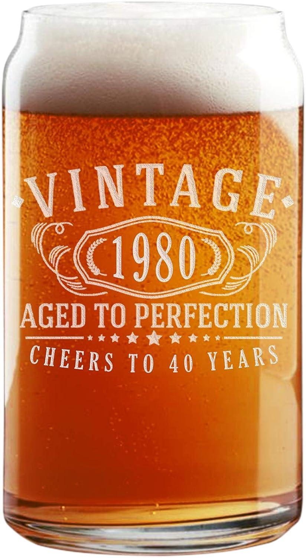 Vaso de cerveza vintage de 1980 grabado, 16 onzas, 40 cumpleaños envejecido a la perfección – 40 años de edad regalos