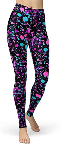 Colorful 80s Paint Splash Leggings for Women. Many patterns available