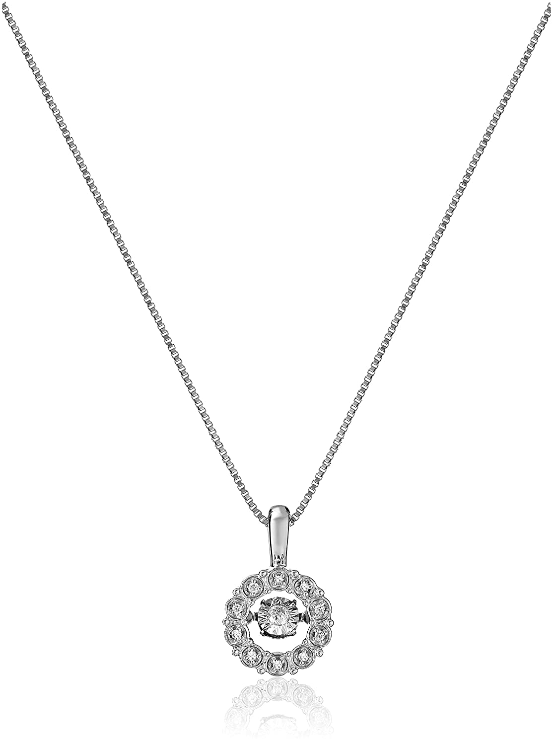 bc35eceef Amazon.com: Sterling Silver Dancing Diamond Accent Circle Pendant Necklace:  Jewelry
