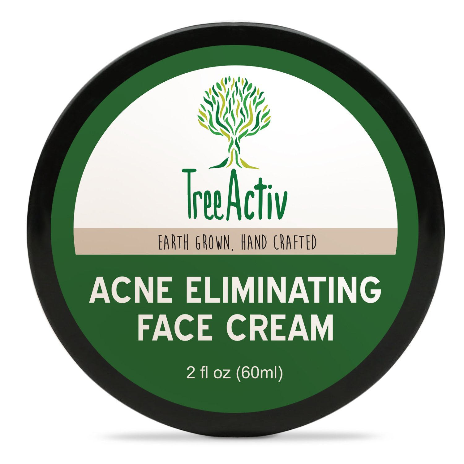 TreeActiv Acne Eliminating Face Cream, Tea Tree Natural Extra Strength Fast Acting Treatment for Clearing Facial Acne, Gentle Enough for Sensitive Skin, Adults, Teens, Men, Women, 2 fl oz by TreeActiv