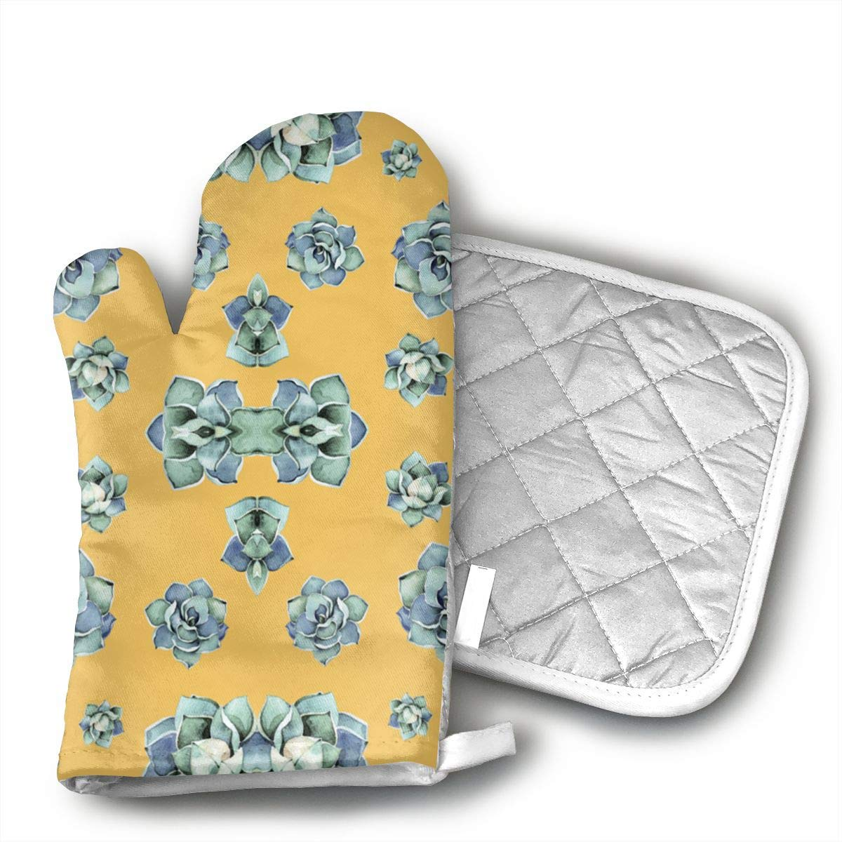 Wiqo9 2' Happy Day Cactus Denim Wash Mustard Giftwrap (174) Oven Mitts and Pot Holders Kitchen Mitten Cooking Gloves,Cooking, Baking, BBQ.