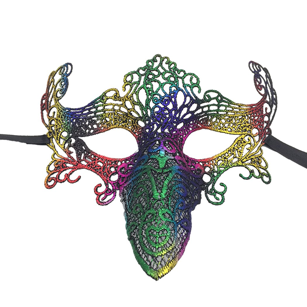 7 Pack Lace Mask,Outgeek Breathable Long Nose Bird Masquerade Costume Mask