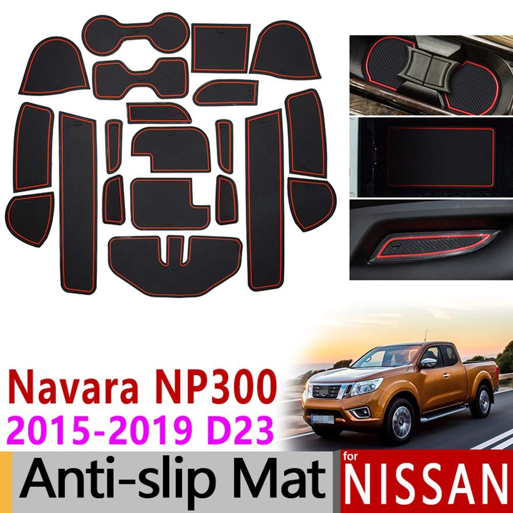 QSONGL Para Nissan Navara NP300 D23 Taza de Goma Antideslizante Alfombrilla para Puerta 2015 2016 2017 2018 Accesorios Etiquetas engomadas del Coche Dise/ño del Coche