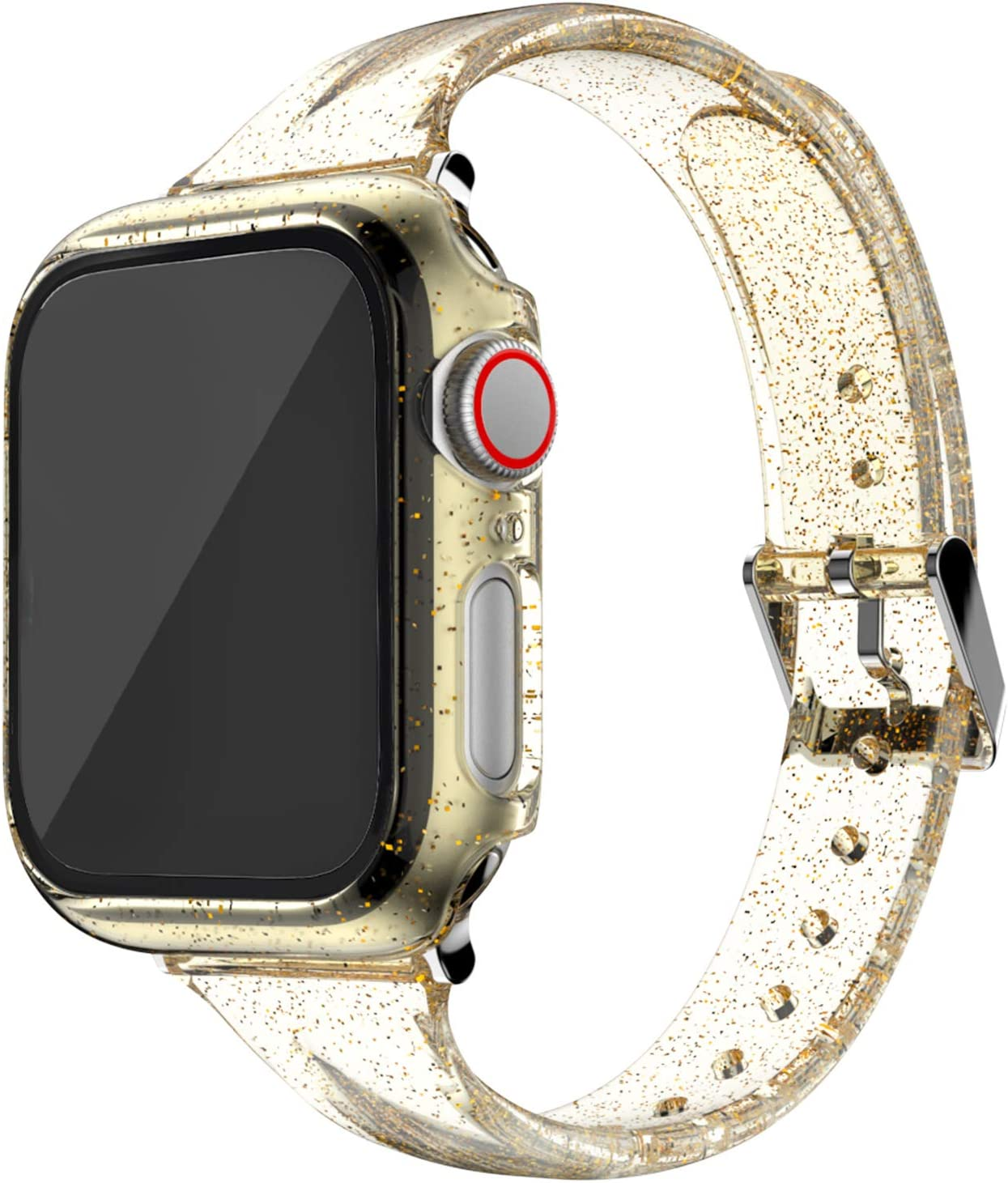RARF Bands with Case Compatible with Apple Watch 40mm 44mm, Fashion Women Replacement Strap Bracelet Compatible with iWatch Series 6 5 4 Series SE