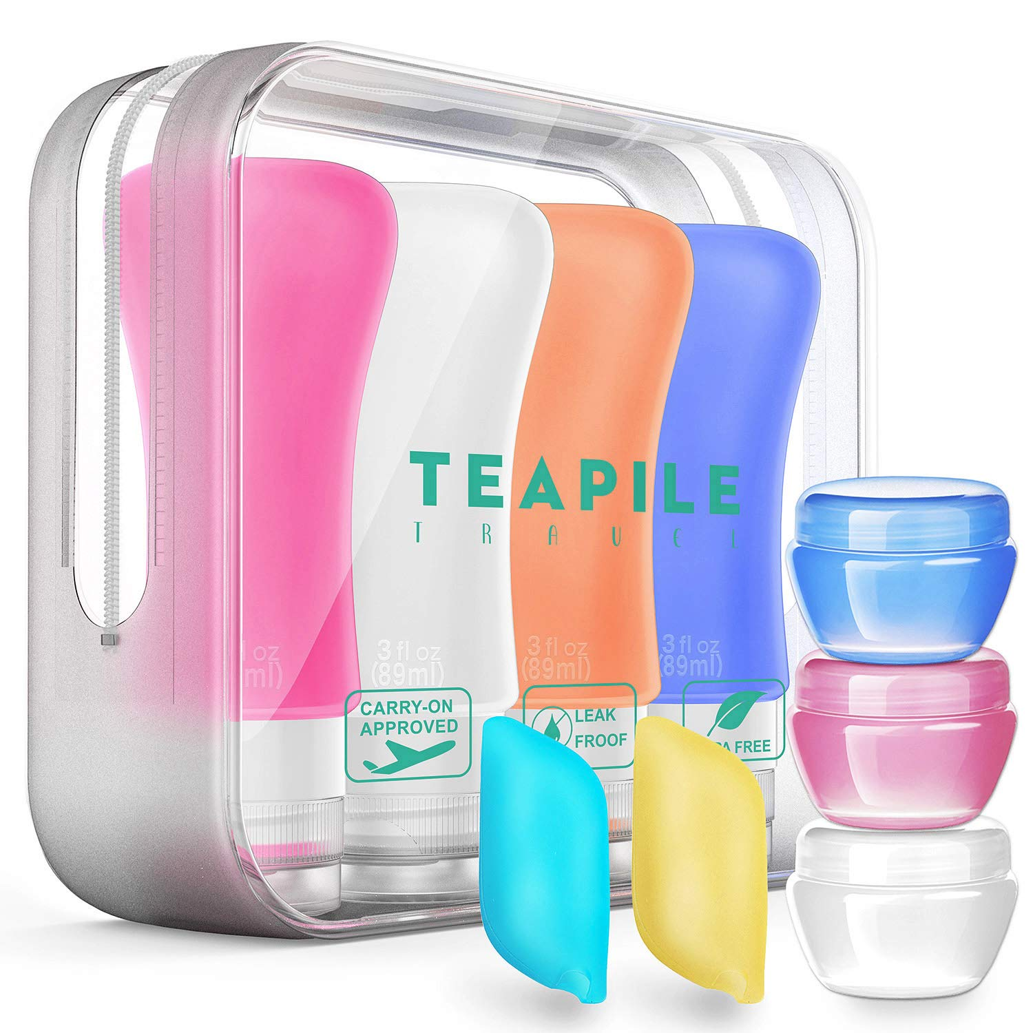 9 Pack Travel Bottles TSA Approved Containers, 3oz Leak Proof Travel Accessories Toiletries,Travel Shampoo And Conditioner Bottles,Perfect for Business or Personal Travel, Fun Outdoors by Teapile