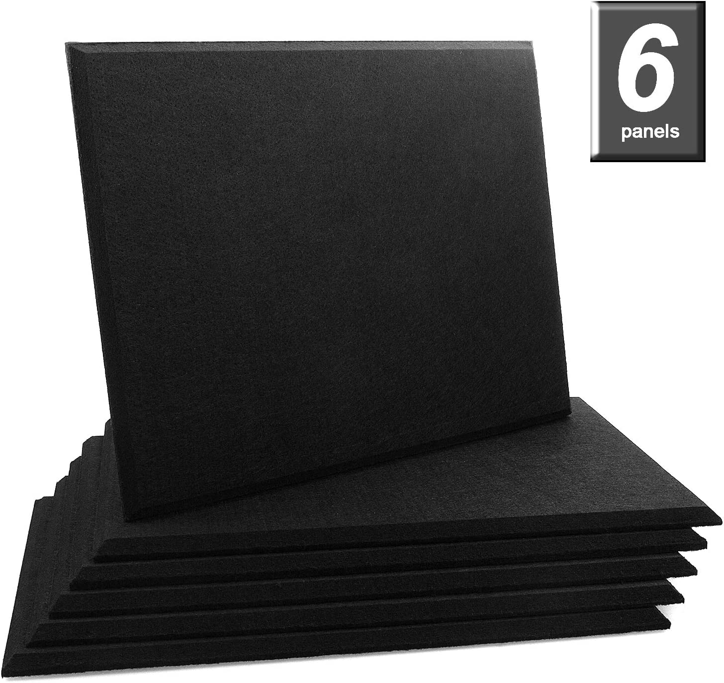 ADVcer 6 Pack Acoustic Panels Piano Room Home Theater 15.7x11.8x0.5 inch Polyester Fiber Bevled Edge Wall Sound Insulation Sound Proof Padding Absorbing Soundproofing Tiles for Recording Studio