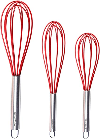 Wired Whisk Silicone Whisk Set of 3 - Stainless Steel & Silicone Kitchen Utensils